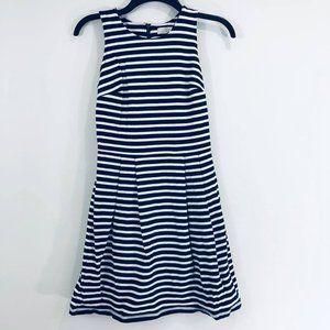 Loft Woman's Sz 2P Dress Navy Blue White Cotton